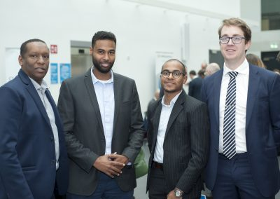 Ali Abdalla, Sligo General, with Ahmed Akoud, Mohamed Yousif and Ben Murphy from GUH at the Irish Spine Society's Annual Meeting, held at NUI, Galway.